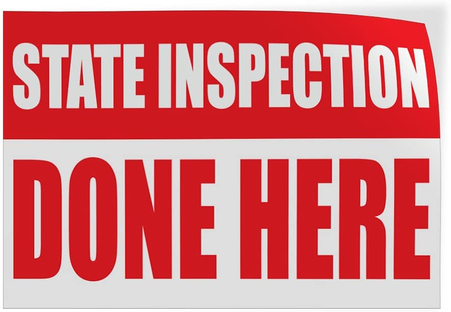 54inx36in Decal Sticker Multiple Sizes Stare Inspection Done Here Business State Inspection Outdoor Store Sign Red Set of 2