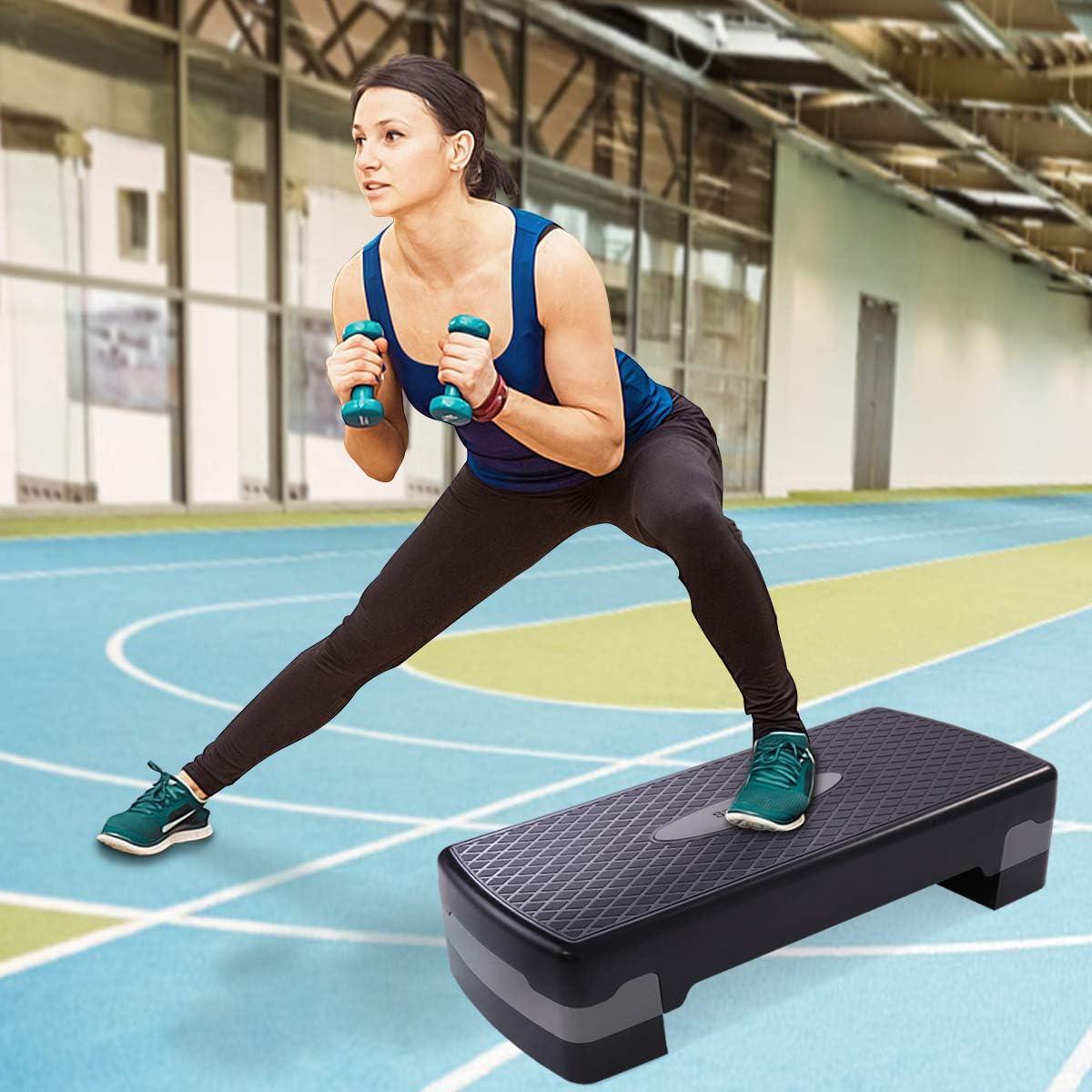 GOPLUS 43 Step Platform Adjustable Fitness Aerobic Stepper 4 – 6 – 8 Non-Stick Surface W Risers
