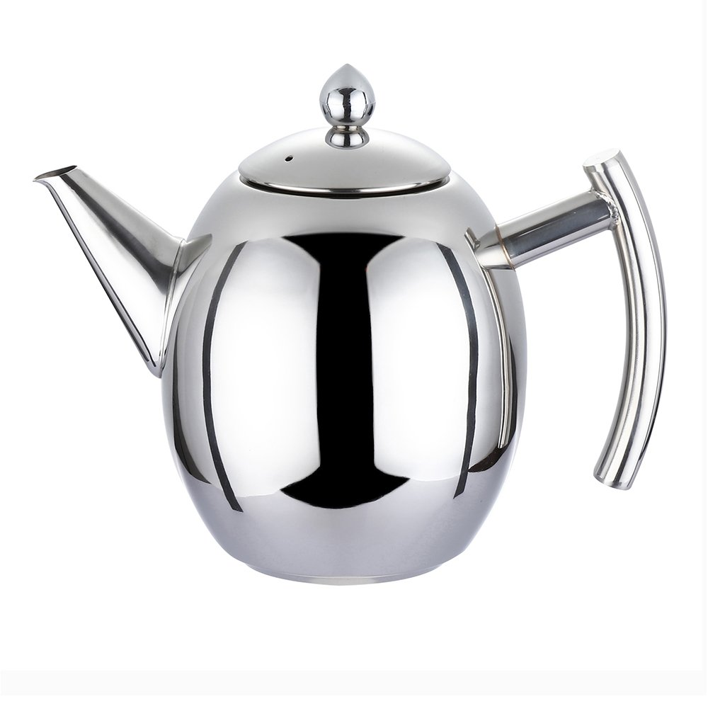 Coffee Tea Pot - WeHome 34oz Stainless Steel Teapot Kettle with Infuser Filter,Best Polished Espresso Coffee Pouring Pot for Home Kitchen,Hotel,Restaurant and Office,1000ML