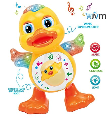 JVM Dancing Plastic Duck Toy with Real Dance Action and Music Flashing Lights, Multicolour