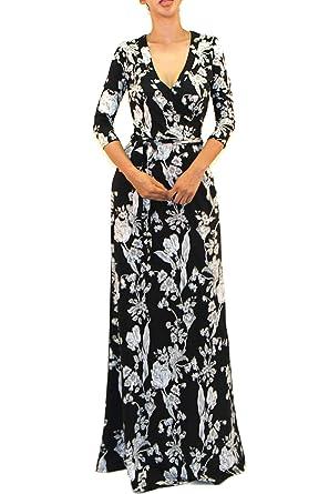 03b036c20e Vivicastle Women s Printed V-Neck 3 4 Sleeve Faux Wrap Waist Tie Long Maxi