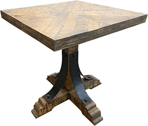 Crestview Collection CVFNR668 Bengal Manor Mango Wood and Iron Trestle Base Square End Table Furniture