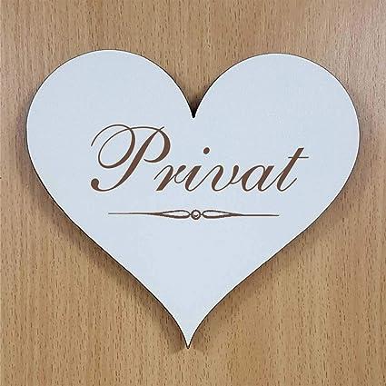 Cartel de corazón «PRIVAT» de aprox. 13 x 12 cm - Cartel de ...