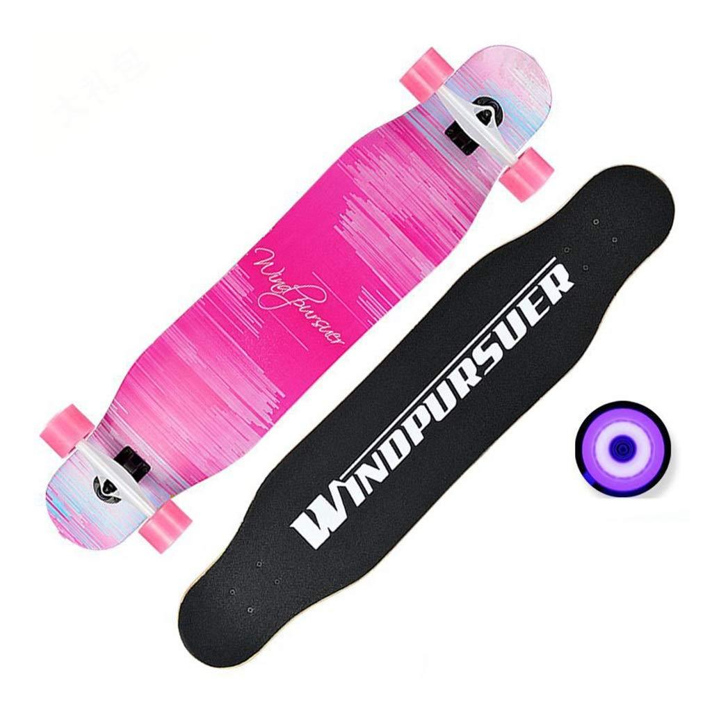 スケートボード ロングボード男の子と女の子一般ダブルワープタイプ107cm初心者ピンクブラッシュストリートダンスダンスボードプロボードスケートボー (Color : ピンク, Size : 107*25*15cm) ピンク 107*25*15cm