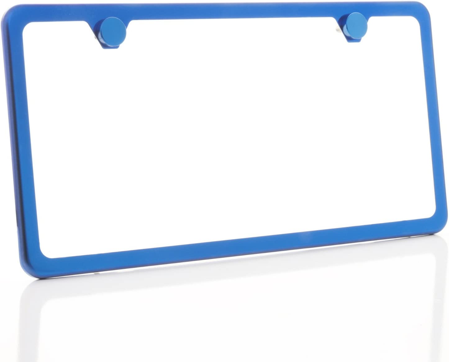 KA LEGEND One Blue Chrome T304 Stainless Steel License Plate Frame Holder Front Or Rear Bracket with Aluminum Screw Cap
