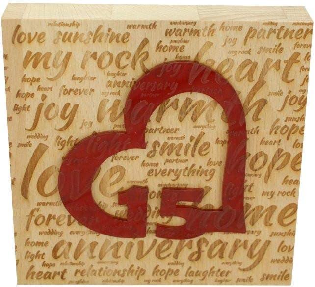 15th Wedding Anniversary Word Art Beech Block with 15 Year Acrylic Heart - 15th Anniversary Ornament