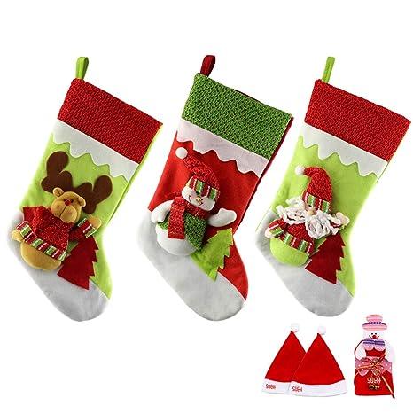 SueH Design Medias de Navidad 3 Pack 48cm   2 Sombreros de Santa y ...