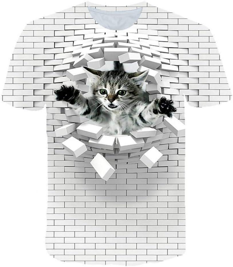 RCFRGV Camisa 3DT Mens Club Beach Street Camiseta Elegante/exagerada - Color Block / 3D / Animal Print White Us40: Amazon.es: Deportes y aire libre