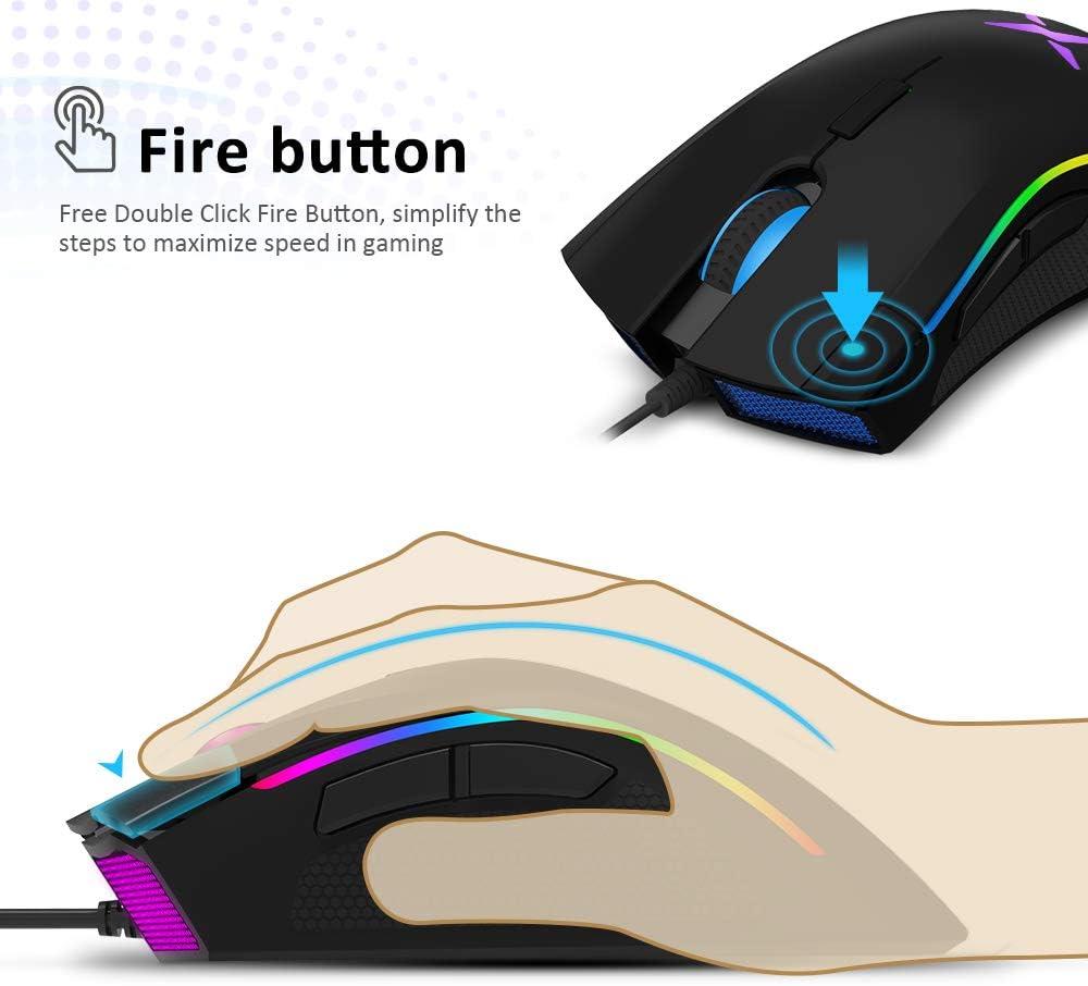 programmable Ergonomique pour PC portable 7 boutons Design unique Bouton de feu DELUX Souris Gamer 16,8 millions de RVB couleur 24000 DPI max