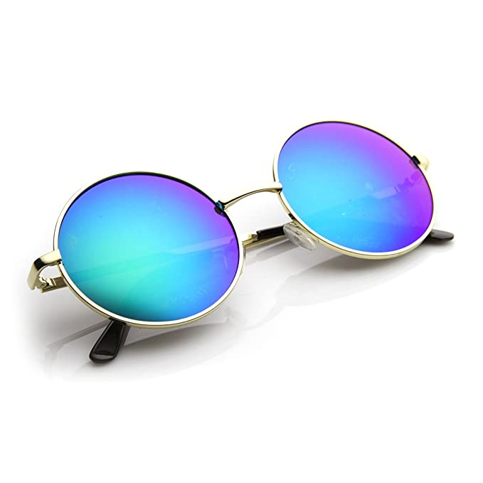 20625ae228a Amazon.com  Round Large Lennon Style Flash Mirror Festival Sunglasses (Gold  Fire)  Clothing