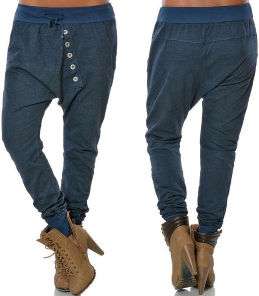 keephen Pantalones de chándal de Mujer con Botones oblicuos ...