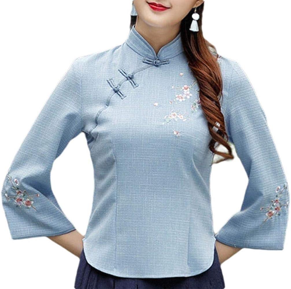 Blusa China de Manga Larga para Mujer Azul Azul XS: Amazon.es: Ropa y accesorios