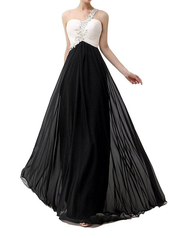 AngelDragon Appliques Beaded One-Shoulder Gowns Chiffon Long Evening Dress