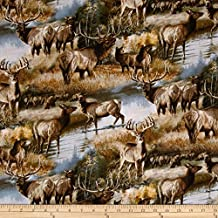 """1/2 Yard - Elks and Deer in Autumn Cotton Fabric (Great for Quilting, Sewing, Craft Projects, Quilts, Throw Pillows & More) 1/2 Yard X 44"""" Wide"""