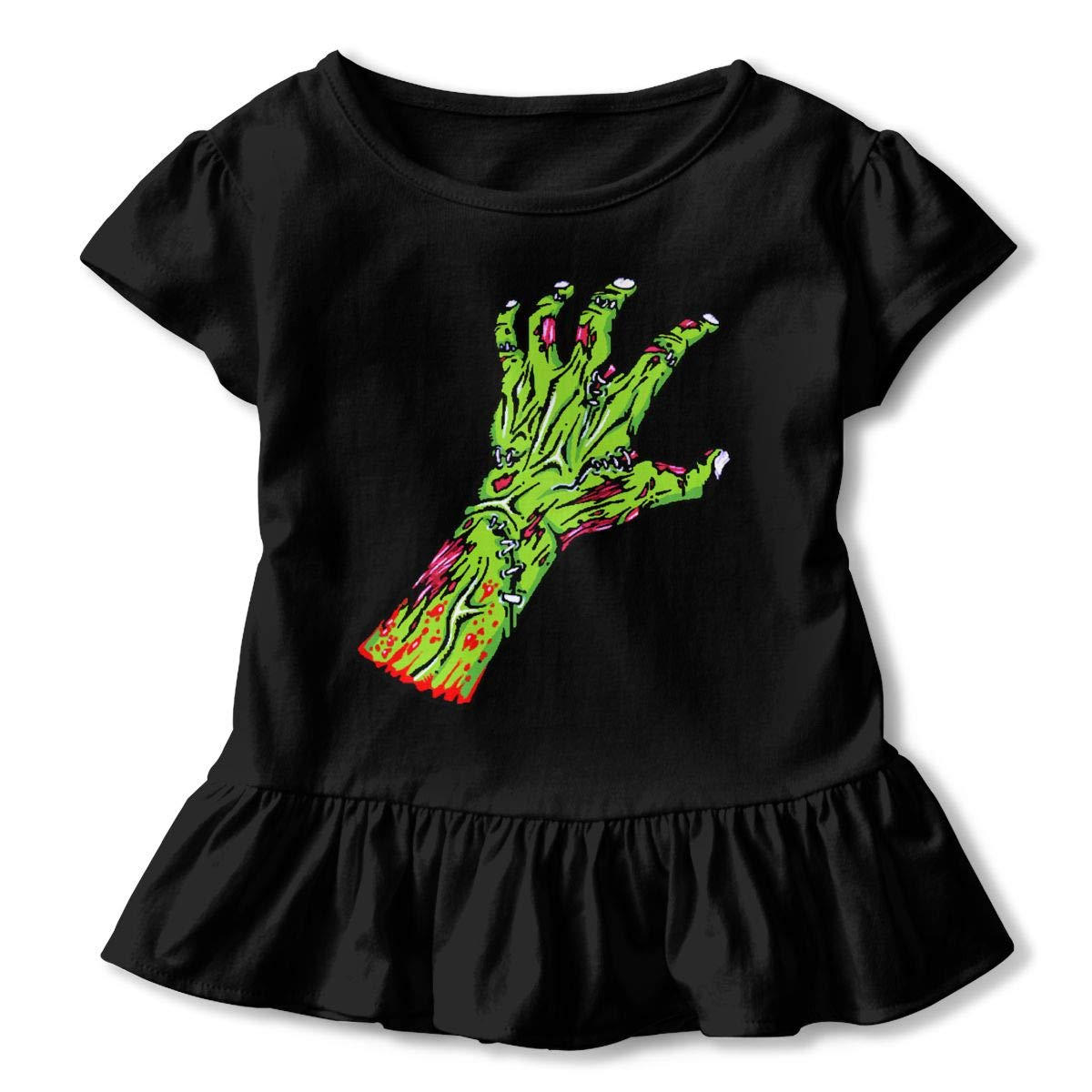 CZnuen Green Zombie Hand 2-6T Baby Girls Cotton Jersey Short Sleeve Ruffle Tee