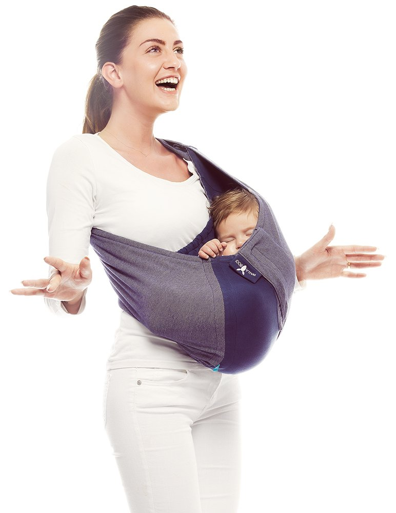 Wallaboo Baby sling Connection, Easy Adjustable and Ergonomic, Newborn 8lbs to 33 lbs, 100% Cotton, 3 Sitting Positions, Color: Blue - Grey WSC.0310.1821