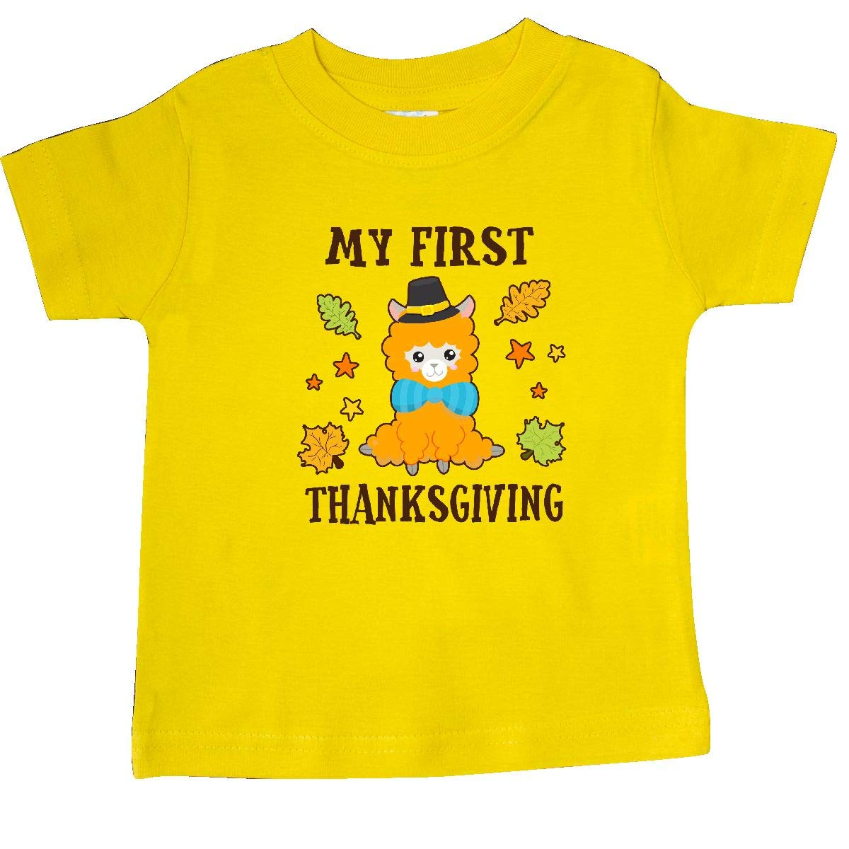 inktastic My First Thanksgiving with Llama and Fall Leaves Baby T-Shirt