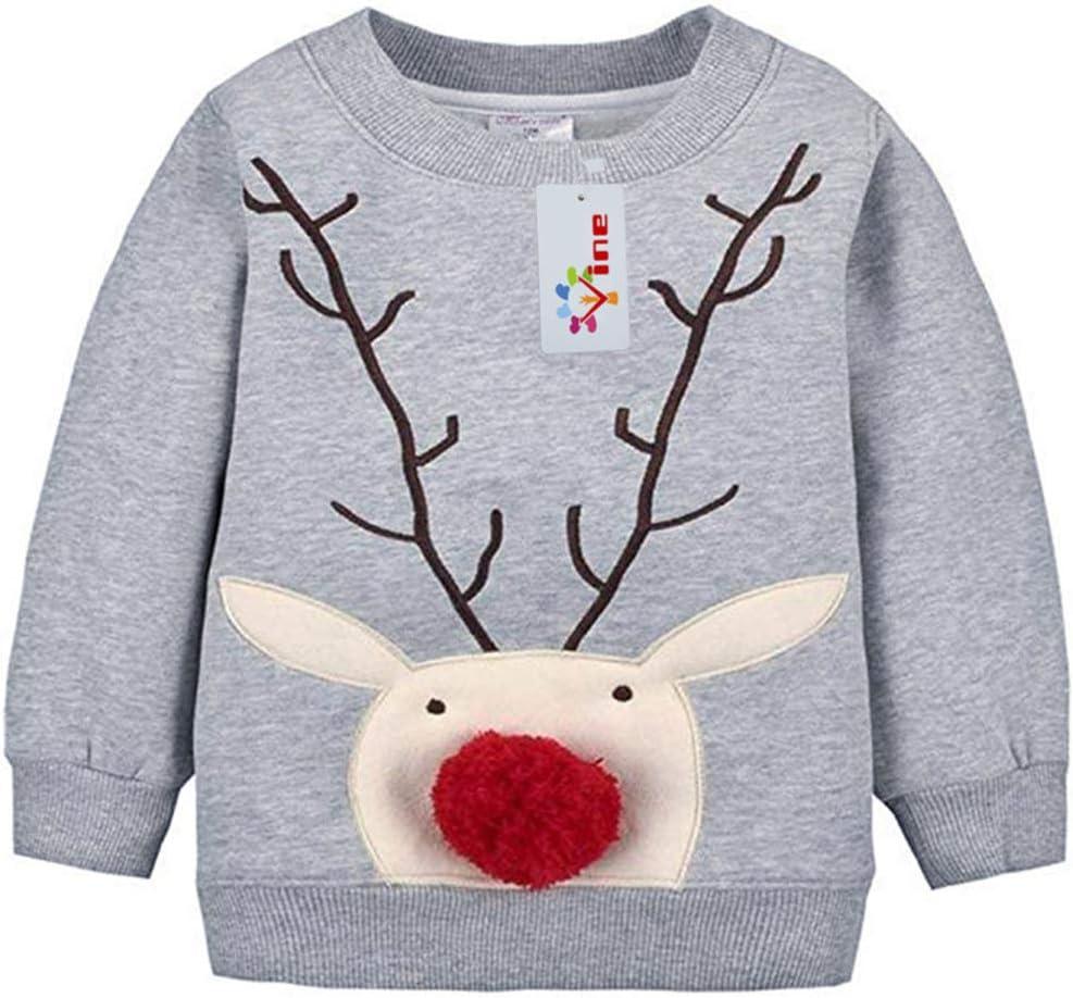 Sudaderas para Ni/ños Navidad ciervos Beb/é Camisetas de Manga Larga Ni/ñas Sweatshirt Tops Vine 3 a/ños