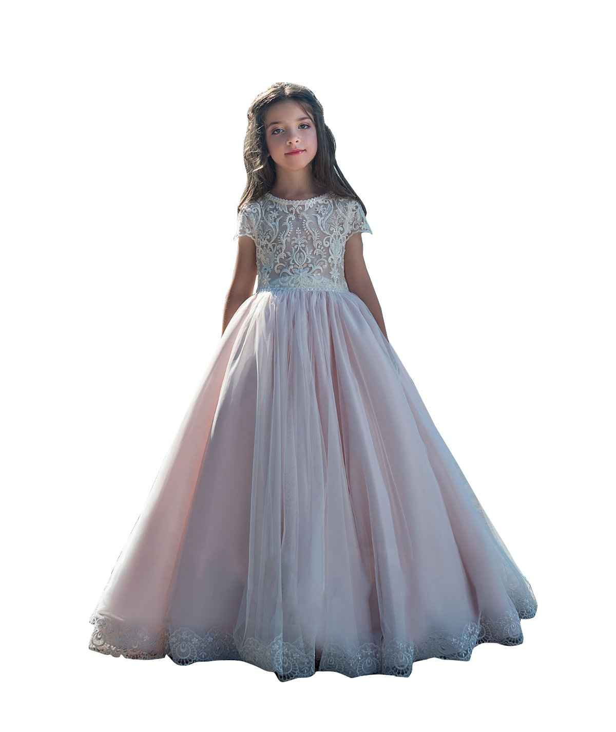 kelaixiang Long Lace Flower Girl Dresses Pink Less Party Dress For Wedding Party