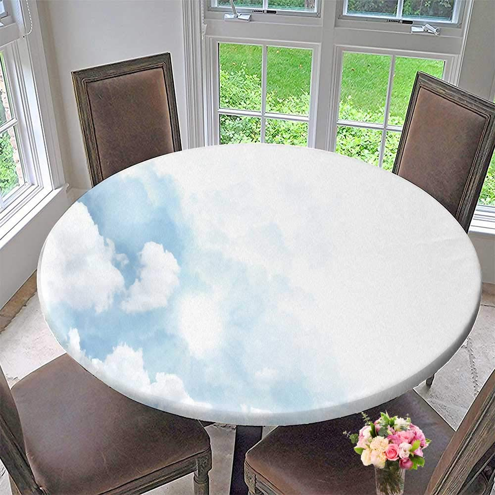 """PINAFORE HOME Round Tablecloth Soft Clouds in Blue Sky for Background with Techniques for Kitchen 63""""-67"""" Round (Elastic Edge)"""