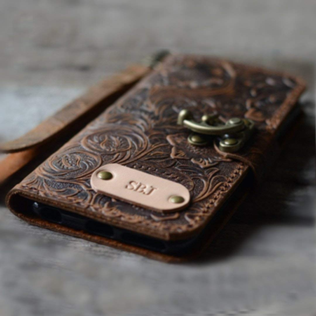 handmade Genuine leather wallet case for iphone XS Max case for iphone 8/8 plus /7/7 plus leather case for iphone XS/XR with wristlet (old brown) iphone 6 / 6S plus case -Italian