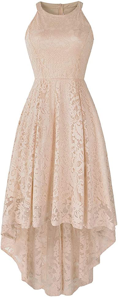 Womens Tulle Lace Crew Neck Sleeve A-line Dress Bridesmaid Wedding Midi Dresses