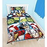 Marvel Avengers Childrens Boys Shield Reversible Single Duvet Cover Bedding Set (Twin) (Multicoloured)