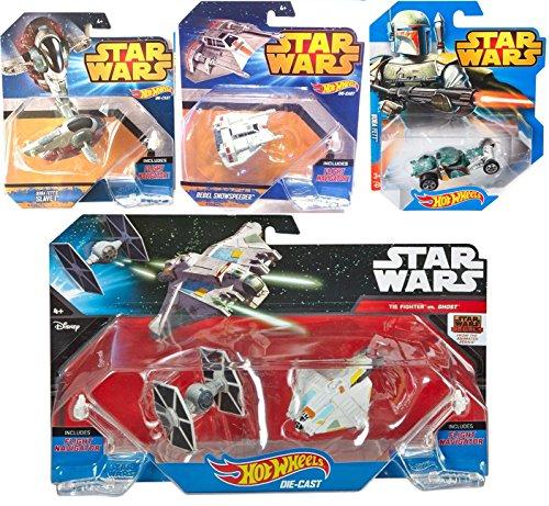 Hot Wheels StarShip Star Wars Spaceship Car Set – Tie Fighter & Ghost Slave I + Boba Fett Car Rebel Snowspeeder 4 ships