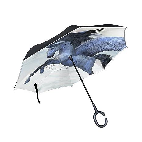COOSUN Capa de plata del unicornio de Pegaso doble del paraguas invertido inversa para el coche
