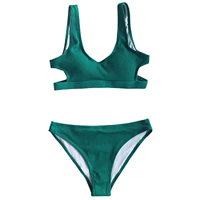 CUPSHE Women's Emerald Velvet Solid Backless Bikini with Cutout: Clothing