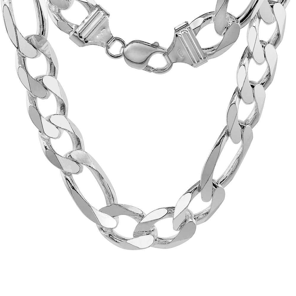Sterling Silver Thick Figaro Link Chain Bracelet 15mm Heavy Beveled Edges Nickel Free Italy, 8 inch