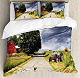 Rural 4 Piece Bedding Set Twin Size, Farmhouse on the Country Road with Barn and Tractor on Side in Stormy Day Picture, Duvet Cover Set Quilt Bedspread for Childrens/Kids/Teens/Adults, Multicolor