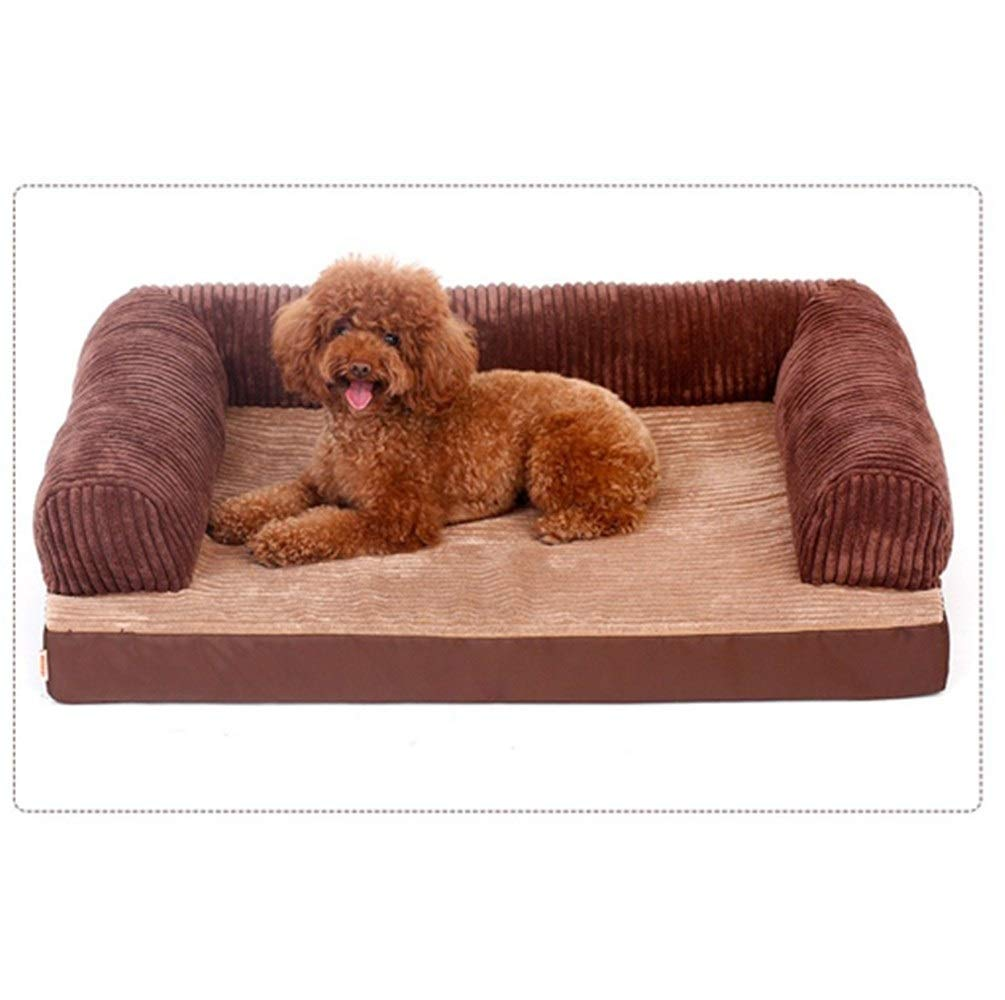 Brown three sides XSYuandudu Dianzi Removable And Washable Four Seasons Universal With Pillow Predection Spine Does Not Collapse Sponge Kennel Mat Blanket Brown Suitable golden Retriever Dog Size Pet Supplies