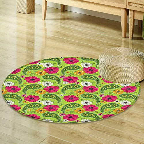 Rug Paisley Decor Bright Floral Pattern with Vivid Paisley Print Old Vintage Boho Style Decor Pistachio Pink Orange Perfect for Any Room, Floor Carpet R-35 ()