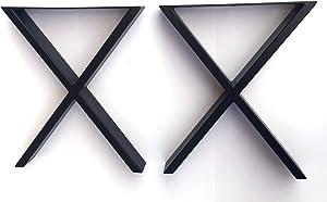 "Coffee Table Legs Metal Legs U Shape Furniture Legs 16"" Chrome, Stainless Steel or Shiny Brass Modern 2pc DIY Made Easy & Affordable (Black X Legs)"