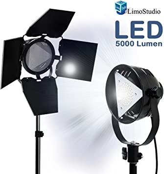LimoStudio Premium Barn Door LED Accent Light 4500Lm // 5700K // 50W with Power Cable On//Off Switch Photography Studio Fuse Socket and Tripod Light Stand AGG1838
