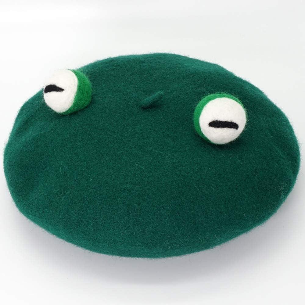 MISS C Handmade Green Frog Eyes Balls Beret Vintage Artist Hat Kawaii Cute Women Cap