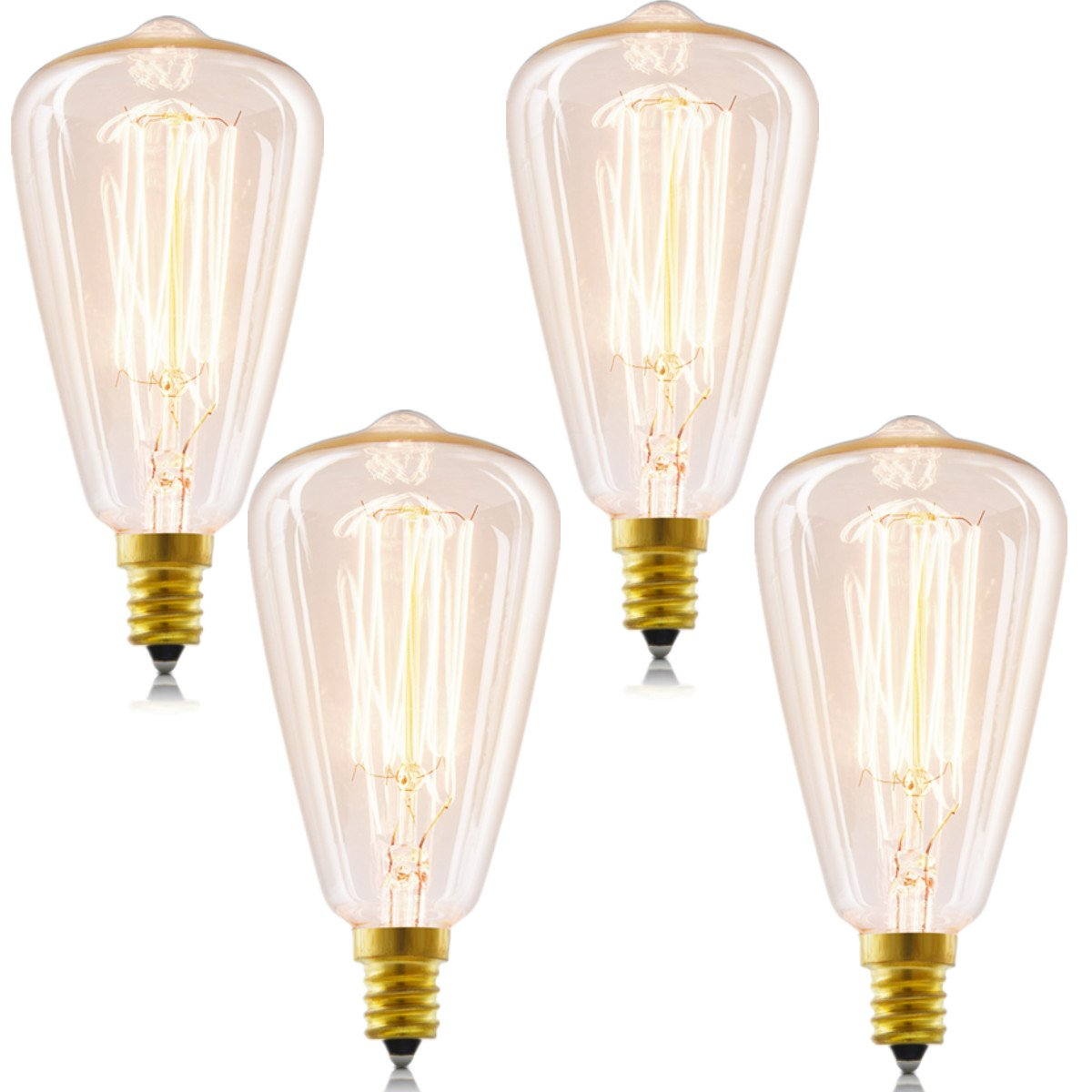 Candelabra Vintage Edison Bulbs, INNOCCY 40W E12 Antique bulb Teardrop Warm White Dimmable Chandelier Edison light, 4 Pack