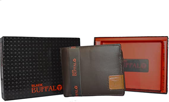 Brown Bifold Mens Premium Leather Removable ID//Card Holder Wallet Gift Box New