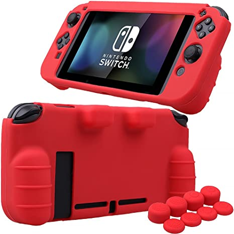 Pandaren® silicona Empuñadura Protector funda protectora para Nintendo Switch consola(rojo) + Joycon empuñaduras de pulgar thumb grips x 8: Amazon.es: Videojuegos