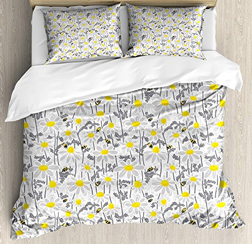 - Yellow 4 Piece Bedding Set Queen Size, Pattern with Bees and Chamomile Daisy Flowers in Flourishing Meadow Nature, Duvet Cover Set Quilt Bedspread for Childrens/Kids/Teens/Adults, Grey Yellow White