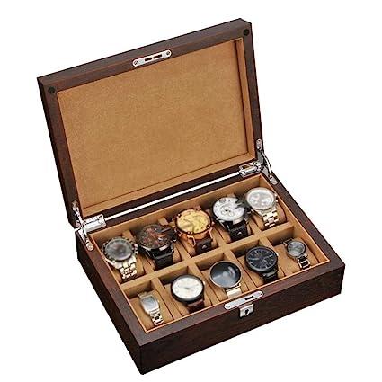 CZZ Caja de Relojes - Cubierta de Cristal 6 Ranuras Reloj Joyas Exhibición Caja de Almacenamiento