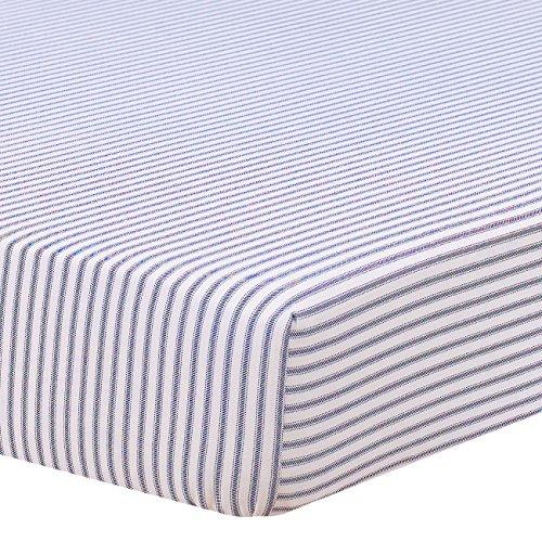 (Navy Classic Stripe Crib Sheet)