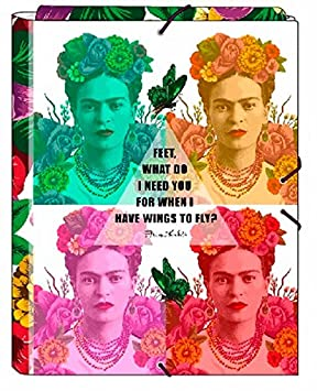 Frida Kahlo- Carpeta Folio Gomas con 3 Solapas (SAFTA 561646068)