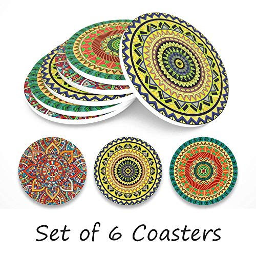 Coasters For Drinks, Personalized Coasters Absorbent Ceramic Drink Coaster Table Coaster Party Favors for Bar Home Living Room Decorations, House Warming Gift, 6 Pieces (Mandala)