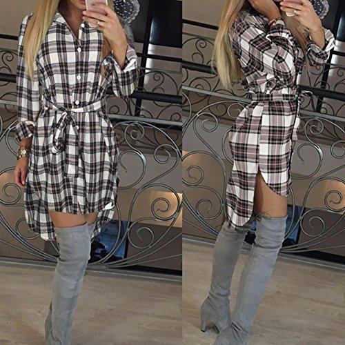 Manica Quadri Hibote Cinghie Plaid A Con Bianca 2017 Lunga Bluse Camicetta Blusa Donna Vestono Maglie Camicia Casual wHxZptz