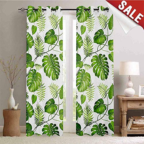 Flyerer Leaf, Window Curtain Drape, Brazilian Rainforest Foliage Nature Ivy Swirls Palm Banana Trees Leaves Art Print, Customized Curtains, W72 x L84 Inch Pale Green