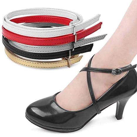 1 Paio Strisce Removibili per Le Scarpe Antiscivolo Anti Sciolti Cinghie Scarpa per Tacco Alto,Tacchi alti laccio da donna Accessori con fibbia