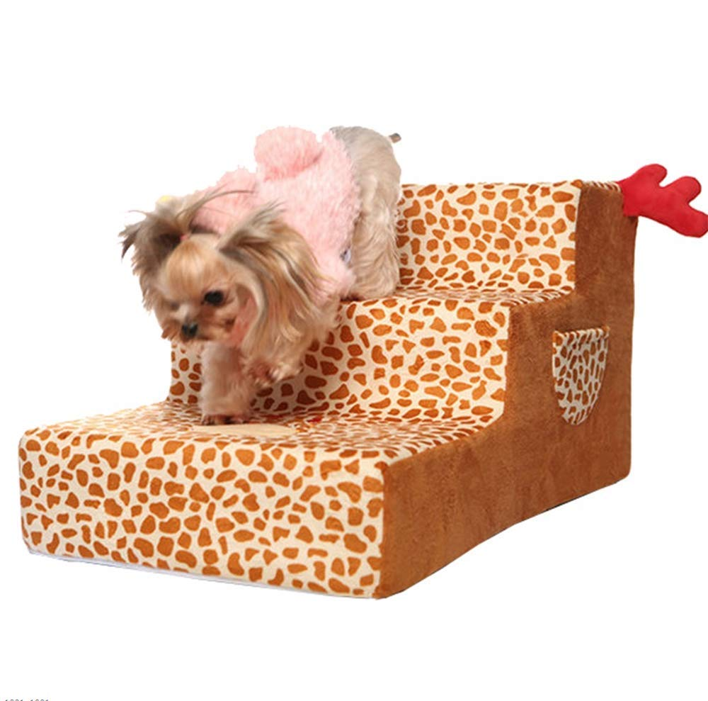 Coffeecolor CMDDYY Pet Stair, High-End Sofa Three-Step Dog Ladder, Removable And Washable Washable Pet Cat Step Stool Sofa, Leopard Print,Coffeecolor