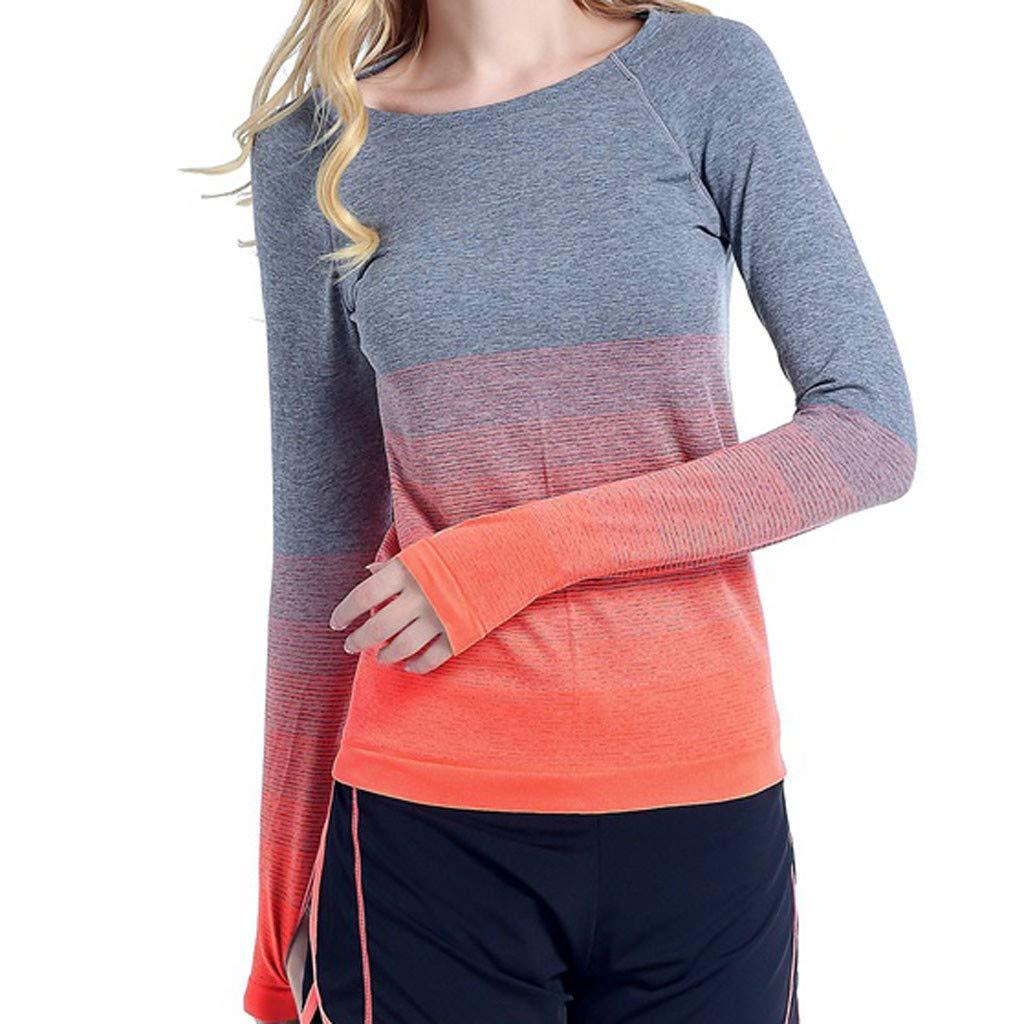 CAOQAO Damen ' Schrittweise Farbe Sport Damen' Laufen Schnell Trocken Yoga Kleidung Fitness Tops